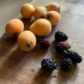 fresh loquat fruit and mulberries